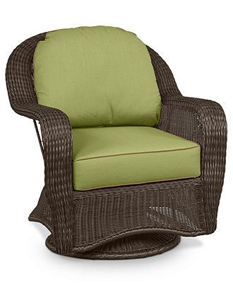 Monterey Wicker Patio Furniture, Outdoor Swivel Chair - furniture - Macy's   Like the cushions
