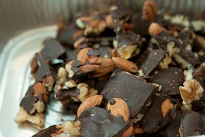 Chocolate Bark - Favorite combinations:  pistachios and dried cranberries or unsweetened organic coconut and pecans