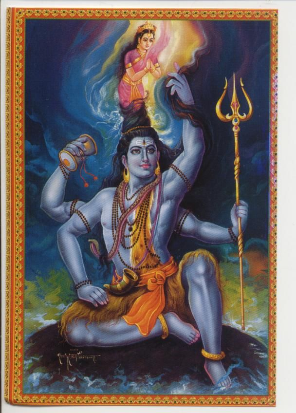 Shiva, Ganga. Hindu God and Goddess. Devi