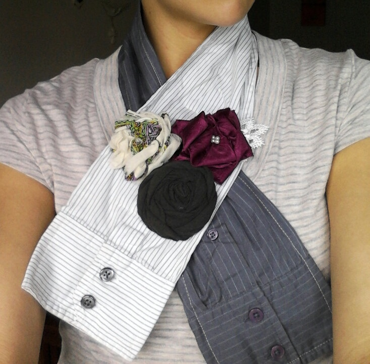 Handmade upcycled scarf scarflette with handmade flowers from mens shirt sleeves. $15.00, via Etsy.