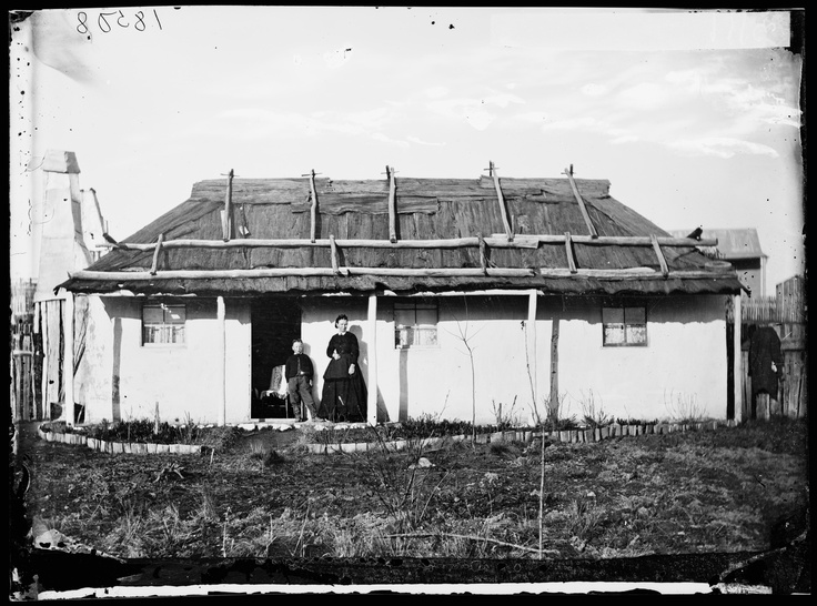 Miss Miller's rendered house with bark roof next to the Methodist Church, Denison Street, Hill End