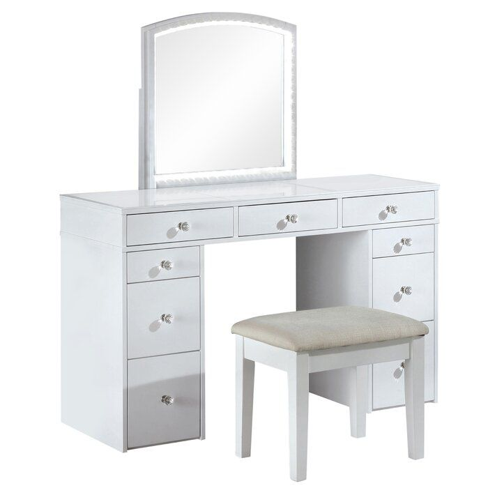 Hana Solid Wood Vanity Set With Stool And Mirror Furniture Of America Vanity Set Wood Vanity