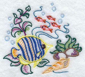 Sea Shells Towel - Shell Towel - Fish Towel - Tropical - Embroidered - Flour Sack Towel - Hand Towel - Bath Towel - Apron - Fingertip Towel by misty1718 on Etsy