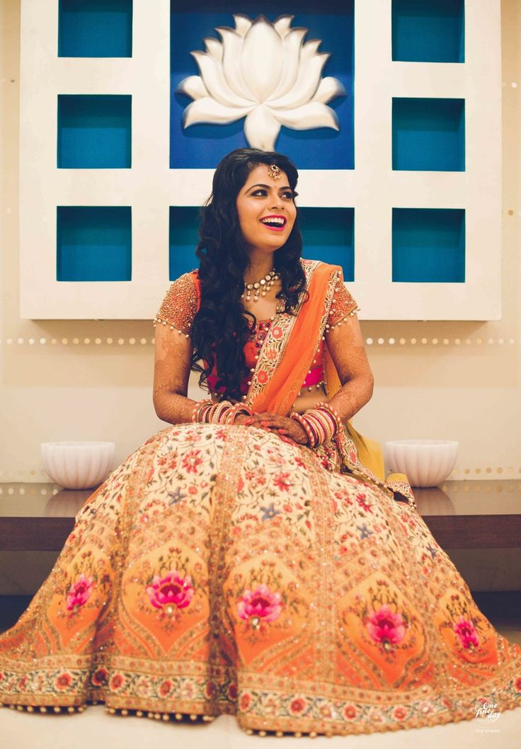 Beautiful #Lehenga in Peach, Orange and Pink