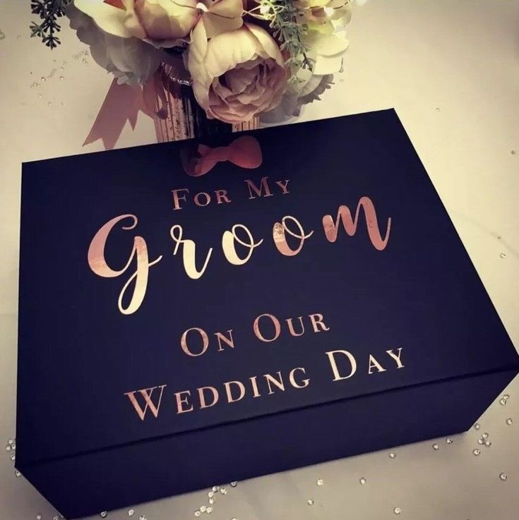 Navy Rose Gold White Groom Birthday Wedding Large Mr and Mrs Bride Personalised Gift Box