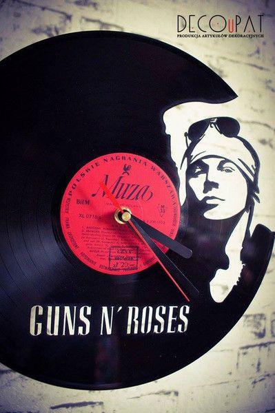 "Zegar+z+płyty+winylowej+""Guns+N'+Roses""+w+DECOuPAT+na+DaWanda.com"