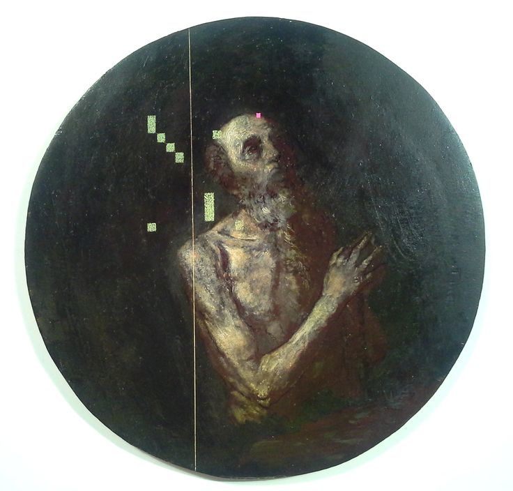 Decomposition X (after Ribera) Oil & beeswax on panel 16cm  Ø  Seán Molloy 2015 (Private Collection)