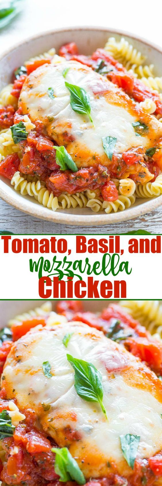 Tomato Basil and Mozzarella Chicken A healthier twist on chicken parmesan because there's NO breaded chicken!! Easy ready in 20 minutes and loaded with FLAVOR!! A guaranteed hit that'll be in your regular dinner rotation! Great for summer parties!