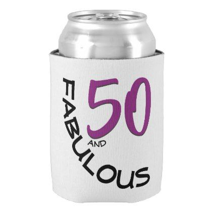 Purple & Black 50th Birthday Typography Can Cooler - black gifts unique cool diy customize personalize