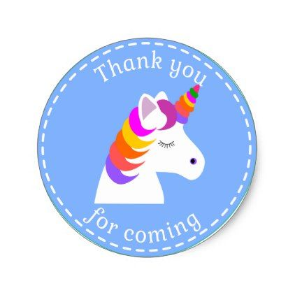 Unicorn Birthday Favor Bag Stickers Magical Classic Round Sticker