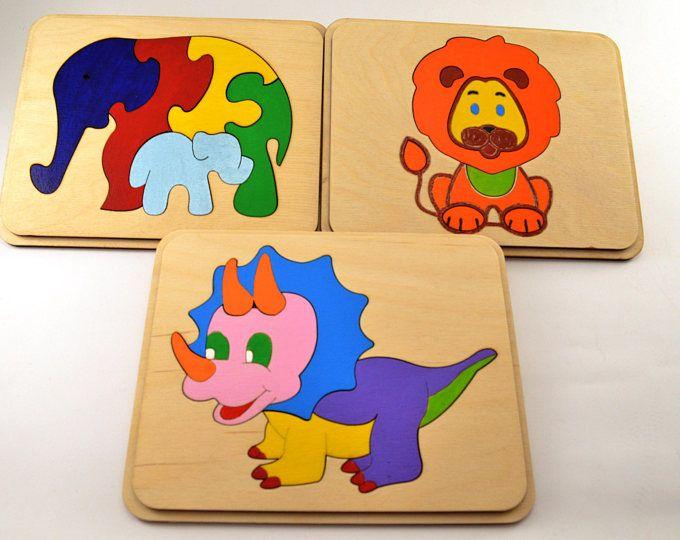 Lot de 3 puzzle en bois bébé et enfant en bas âge des jouets Montessori jouet en bois animal cadeau Noël bébé cadeaux puzzle animaux éléphants famille dinosaure