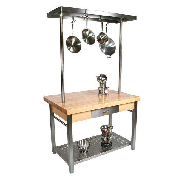 John Boos CUCG20 Cucina Grande 48 x 24 Table with Potrack and Henckels 13-piece Knife Block Set