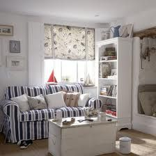 Add an accent of red in #striped fabrics to a blue and white colour scheme for a more playful #nautical spin.