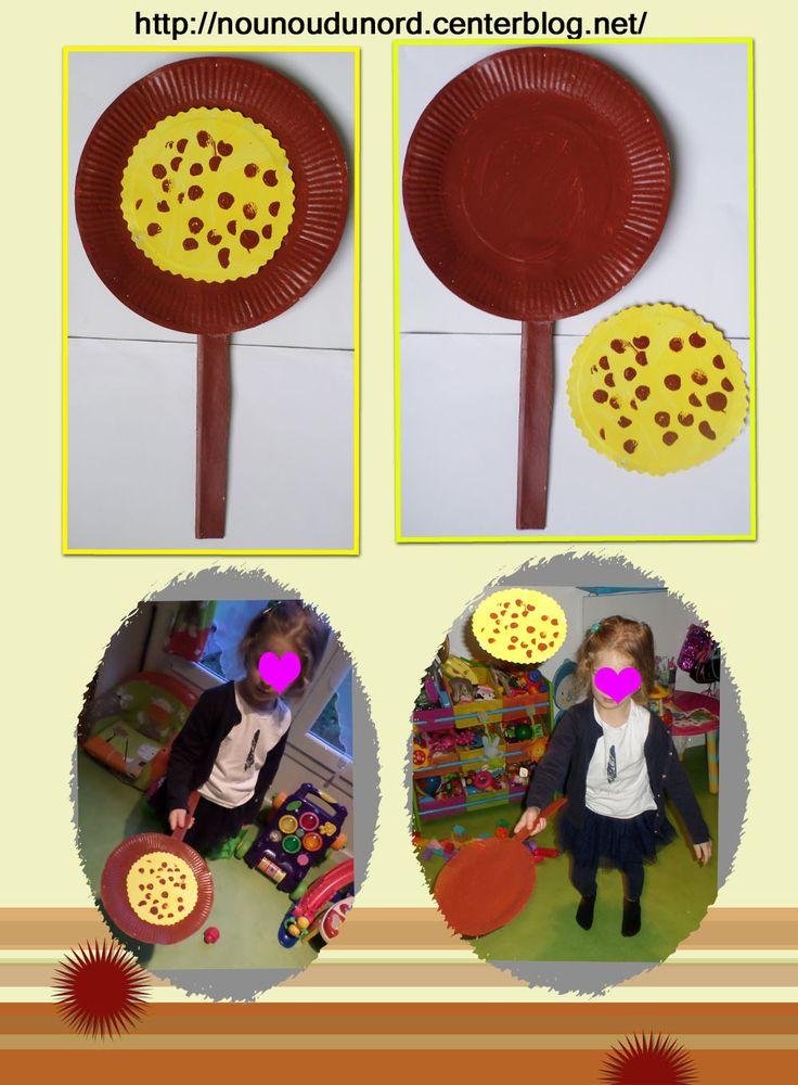 Soline fait sauter sa crêpe, elle a peint en marron une assiette en carton avec un manche pour en réaliser une poêle et peint une autre assiette en jaune pour en faire une crêpe, http://nounoudunord.centerblog.net/2816-soline-a-realise-une-poele-et-une-crepe-avec-des-assiettes