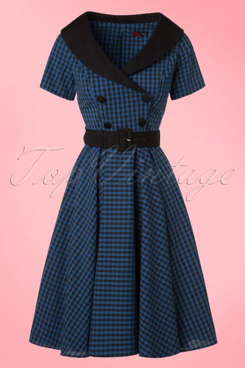 Bunny Bridget 50s Black Navy Checkered Dress 102 39 19563 20161103 0003W