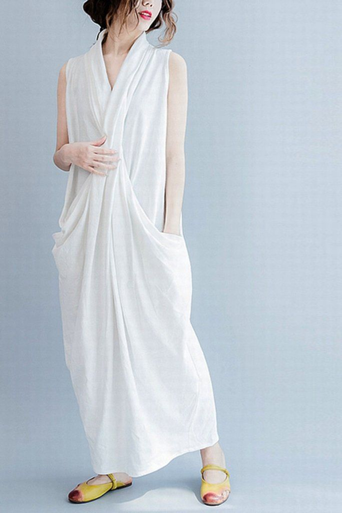 White Sleeveless Cross Plus Size Oversize long Dresses