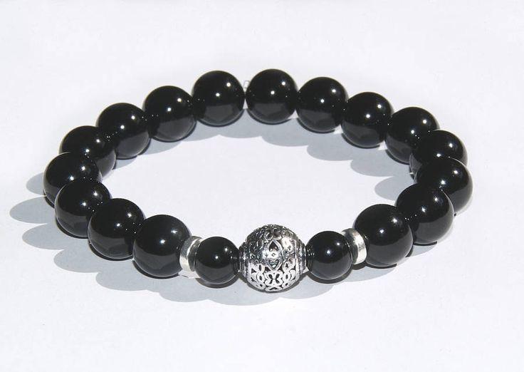 Onyx Edelstein Herren Armband 10mm elastisch silber Kugel Männer Armband Herren Schmuck Geschenk für Männer für Ihn Joga Spirit Mala Surfer von CreativeWithHeart auf Etsy