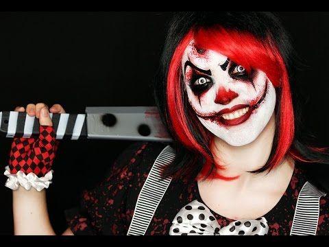 Killer Clown Makeup Tutorial   Easy Scary Clown   31 Days of Halloween - YouTube