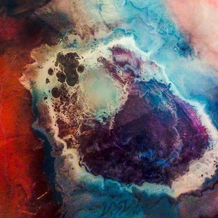 Detail Mixed Media Resin Art By Sandy Fairn Vibrant