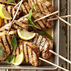 Lemon-Sage Pork Chops on a Stick  From Better Homes and Gardens, ideas and improvement projects for your home and garden plus recipes and entertaining ideas.