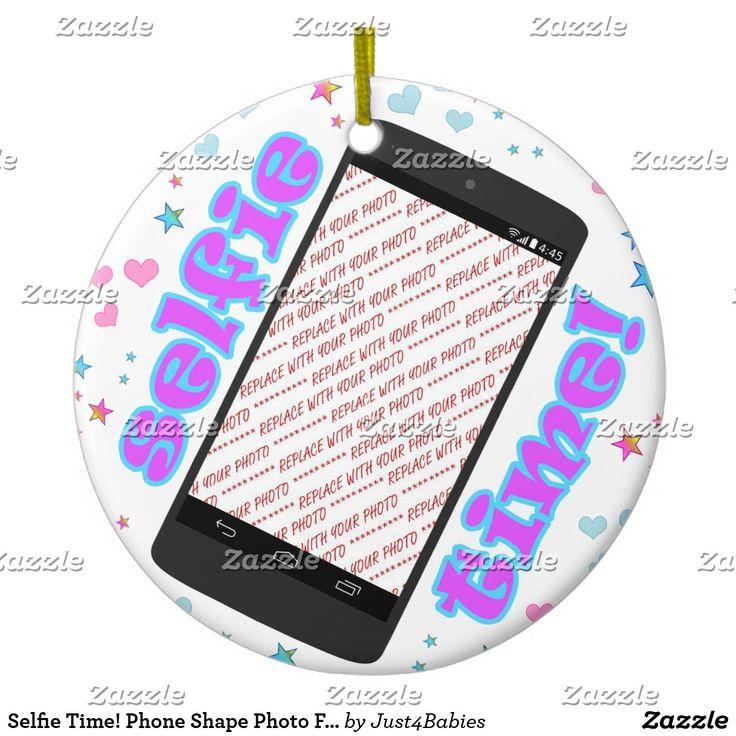 Selfie Time! Phone Shape Photo Frame #ChristmasOrnament - #addaphoto #frames4you #selfies #selfie #SelfieSunday   #Gravityx9 #zazzle #giftshopping