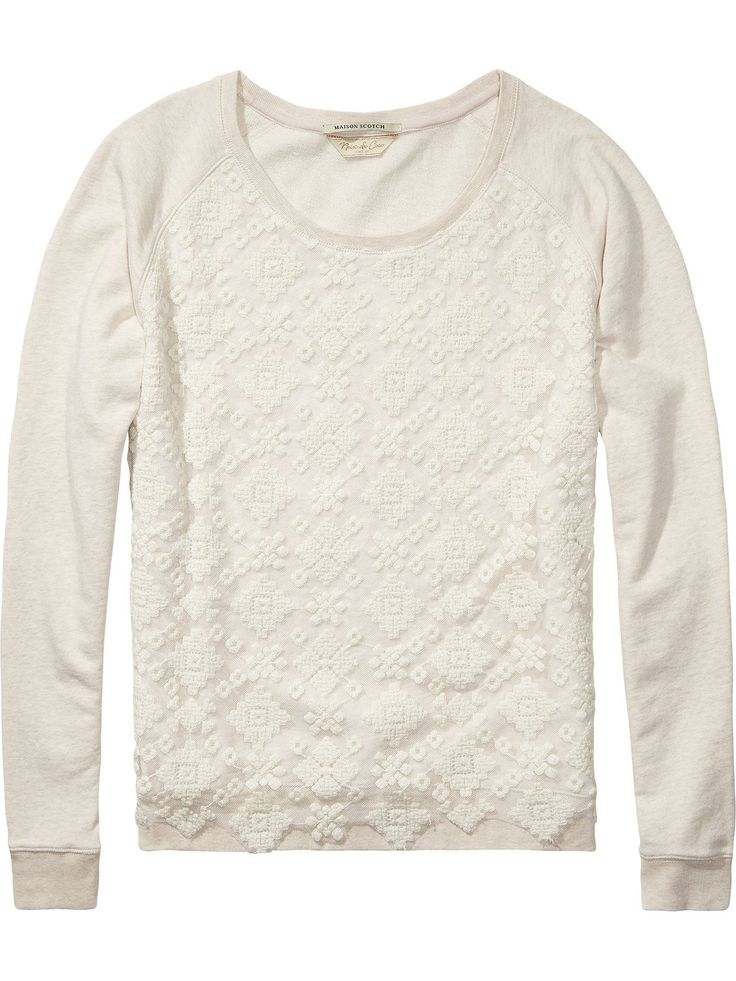 Sweater met kanten inzet |Sweat|Dameskleding bij Scotch & Soda