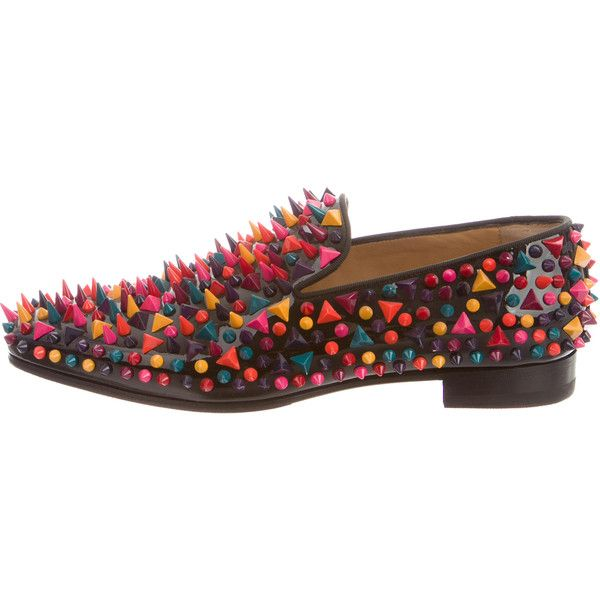 Pre-owned Christian Louboutin Dandy Pik Pik Flat Loafers (£770) ❤ liked on Polyvore featuring men's fashion, men's shoes, men's loafers, black, mens spiked shoes, christian louboutin mens shoes, mens black loafers, mens spiked loafers and mens black pointed toe dress shoes