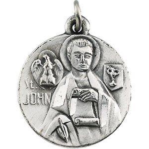 Sterling Silver St. John The Evangelist Medal 18mm - JewelryWeb JewelryWeb. $55.40