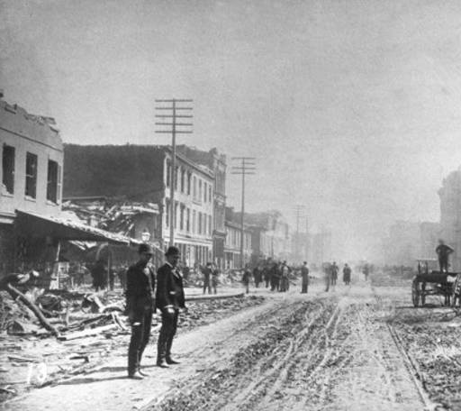 Tornado damage at Eleventh Street and Market Street looking east, from March 27, 1890 storm, Louisville, Kentucky. :: R. G. Potter Collection