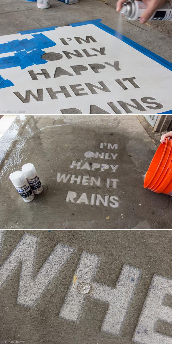 Rustoleum's NeverWet creates sidewalk art only seen when it rains. Cool idea!