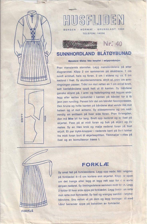 Norwegian Cotton Bunad Costume Pattern Sunnhordland Husfliden Bergen Norway | eBay
