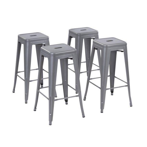 Howard 24 Inch Metal Bar Stool Set Of 4 Silver Metal Bar Stools Bar Stools Metal Bar Bar stool sets of 4