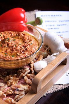 Muhammara recipe from Olives for Dinner. Muhammara is a spicy Middle Eastern dip made from peppers and walnuts. Absolutely delicious, and absolutely vegan!
