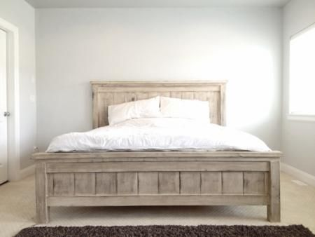today im sharing how we built our king size farmhouse bed with plans from ana white we have our first baby on the way and aside from getting ready for