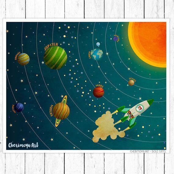 Солнечная система детские Декор Детская стены искусства печать космической ракете печати космическое пространство рисунок малыш подарок