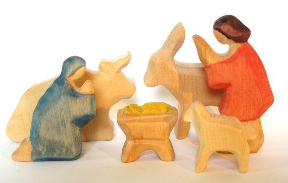 Nativity Figurines, Christmas Crib, Wooden Nativity Set, Carved Nativity, Christmas Decoration, Mary, Joseph, Jesus, Ox, Donkey, Lamb