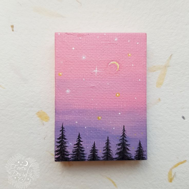 Miniature Crescent Moon Painting, Dollhouse Collectibles,Mini Art,Tiny Painting,Waxing Moon,Crescent Moon,Moon Art,Woodland painting,Forest