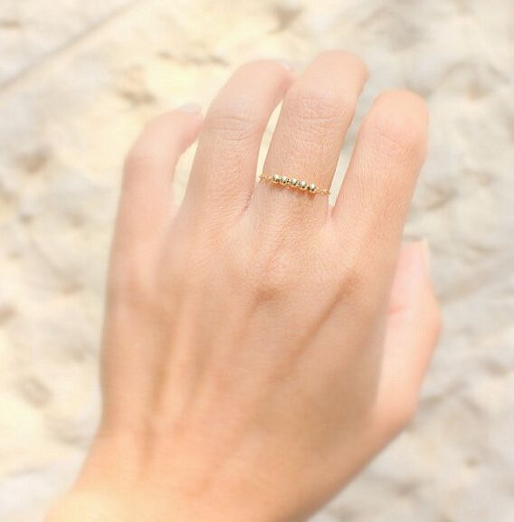 Find More Rings Information about Thin Gold Ring   dainty ring, 14k gold filled chain with five tiny gold beads, stackable gold rings, simple,High Quality ring big,China chain bra Suppliers, Cheap chain link fence wholesale from City lovers Liu Yanxia on Aliexpress.com