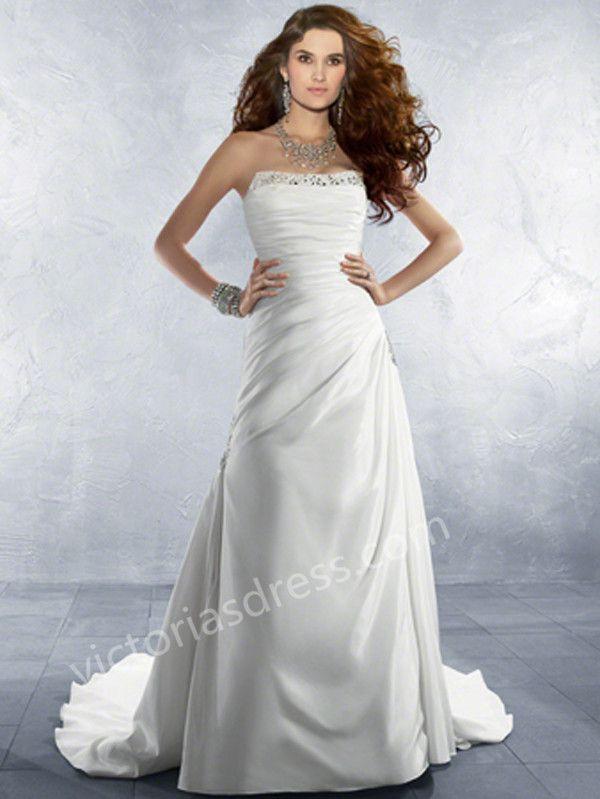 2015 Style A-line Strapless Court Train Elastic Woven Satin Wedding Dresses