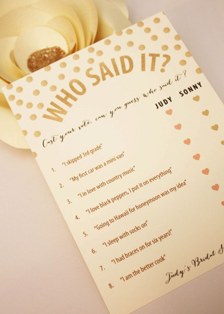 Printable: Personalized Bridal Shower Game - Who Said It? - gold confetti polka dots he said she said by LoveMeetDesign on Etsy https://www.etsy.com/listing/205500787/printable-personalized-bridal-shower