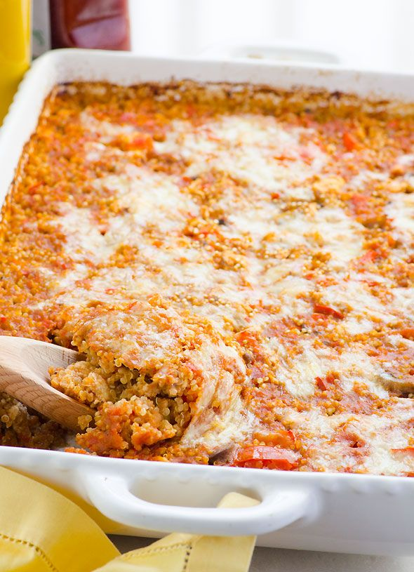 Cheeseburger Quinoa Casserole - A healthy casserole with meat of choice, tomatoes, mustard and cheese.