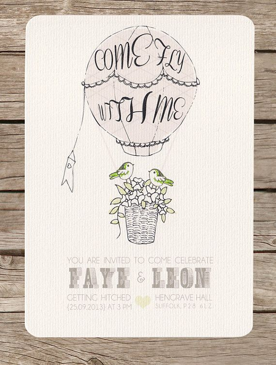 Vintage themed, hot air balloon wedding day invitation