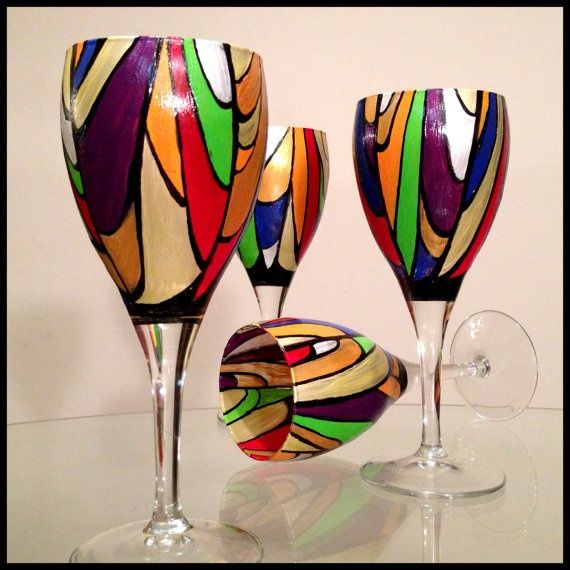 Hand Painted Wine Glasses. Two Available. (price Is For Two) Abstract  Colorful Stained Glass Design. White Wine Glasses