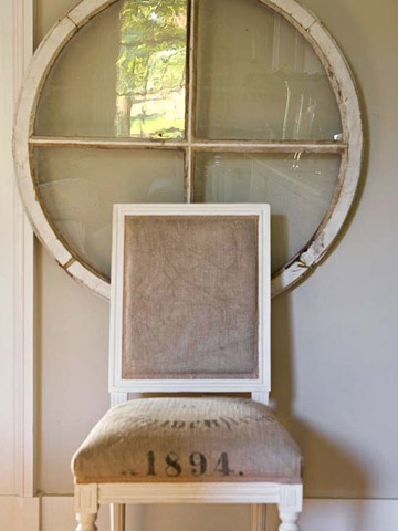 Detail Oriented: Wall Art, Decor Ideas, Round Window, Architecture Salvaged, Dining Chairs, Antiques Window, Old Window, Fleas Marketing Finding, Feeding Sacks