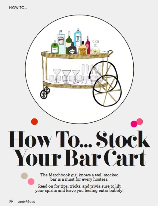How to Stock Your Bar CartDesign Bedroom, S'More Bar, S'Mores Bar, Bar Carts Essential, To Stockings, Matchbook, How To, Modern House, Carts Feb