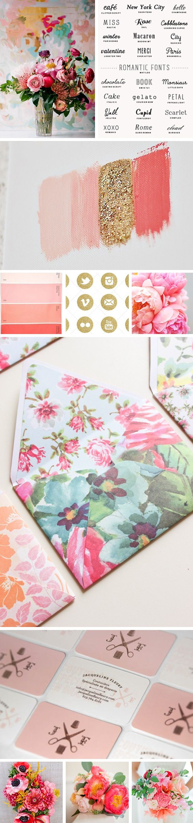I REALLY LIKE THE PEONIES AND FLORA OF THIS Mood Boards && I would like to incorporate gold glitter somehow- perhaps in a grab button? | blog inspiration board.