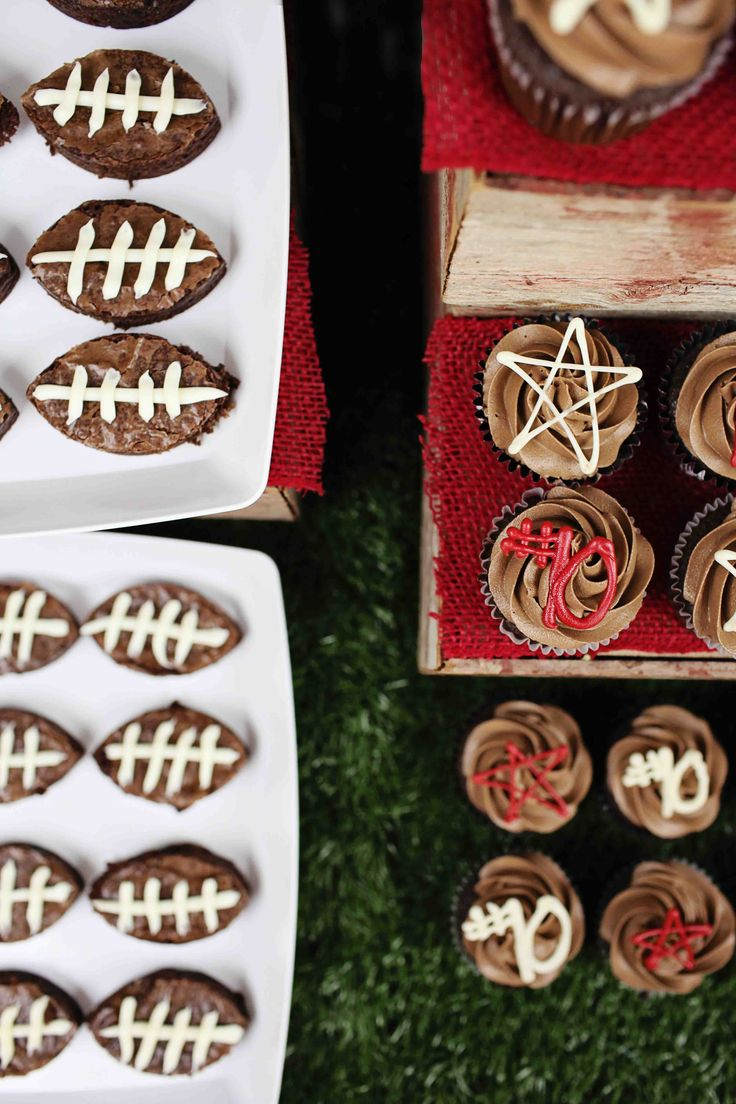All Star Graduation Party Ideas - football shaped brownies and all star cupcakes