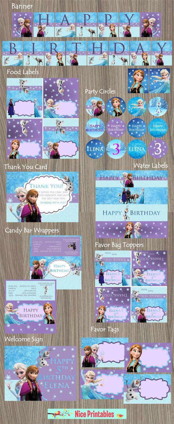 Frozen Kit, disney frozen, Frozen Birthday, Frozen Party, Printable Kit