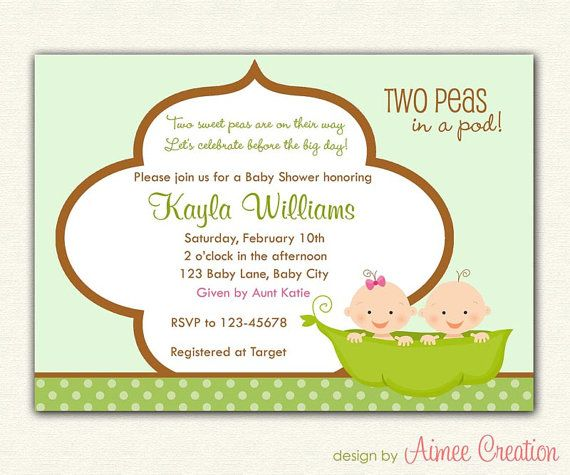 96 best Twin Baby Shower Ideas images on Pinterest Baby shower - baby shower invitation letter