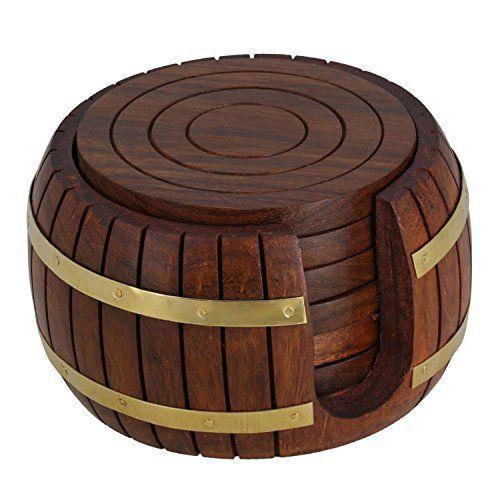 un ensemble de sous-verres en bois de thé autour de 6 à Antique Inspiré barillet porte: Price:65.99Magnifiquement fabriqués à la main en…